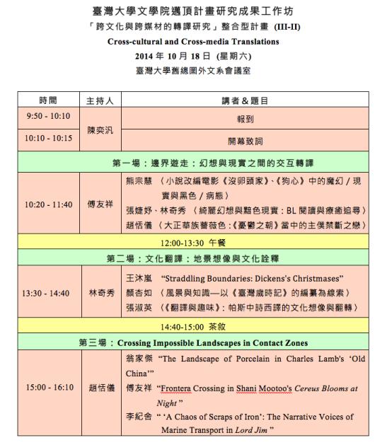跨文化與跨媒材的轉譯研究議程