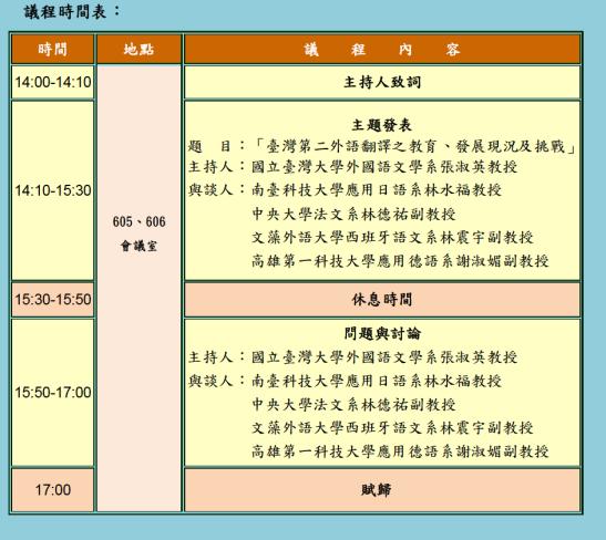 「臺灣第二外語翻譯之教育、發展現況及挑戰」論壇 議程