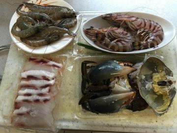沙公螃蟹、明蝦、草蝦、石斑