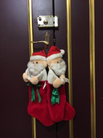 可愛的聖誕老公公襪子:守候禮物到來