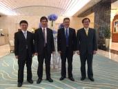OIA 領帶四人組訪科威特 K 4: (左至右)顏家鈺院長、陳政次良基 (學術副校長)、陳為堅院長、陳信希副院長
