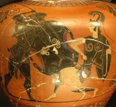 阿基里斯敗彭特希麗雅女王; 西元前 530-520 ,羅浮宮典藏