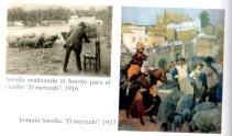 畫家 J. Sorolla 的〈市集〉草圖和畫作