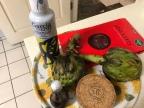 朝鮮薊沙拉所有佐料 (駐西班牙劉德立大使贈送之西班牙頂級橄欖油)