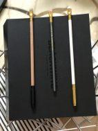 戴上金色、黑色筆套的鉛筆