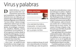 皇家學院前院長 Darío Villanueva 的〈病毒與文字〉強調回歸知識,新冠病毒書寫法是「陽性」