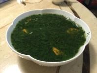 煮好可食之麻薏湯搭配甘藷