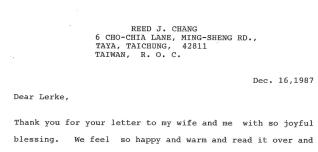 大哥寫信給美國的英文老師 Prof. Lerker (2018 年辭世)